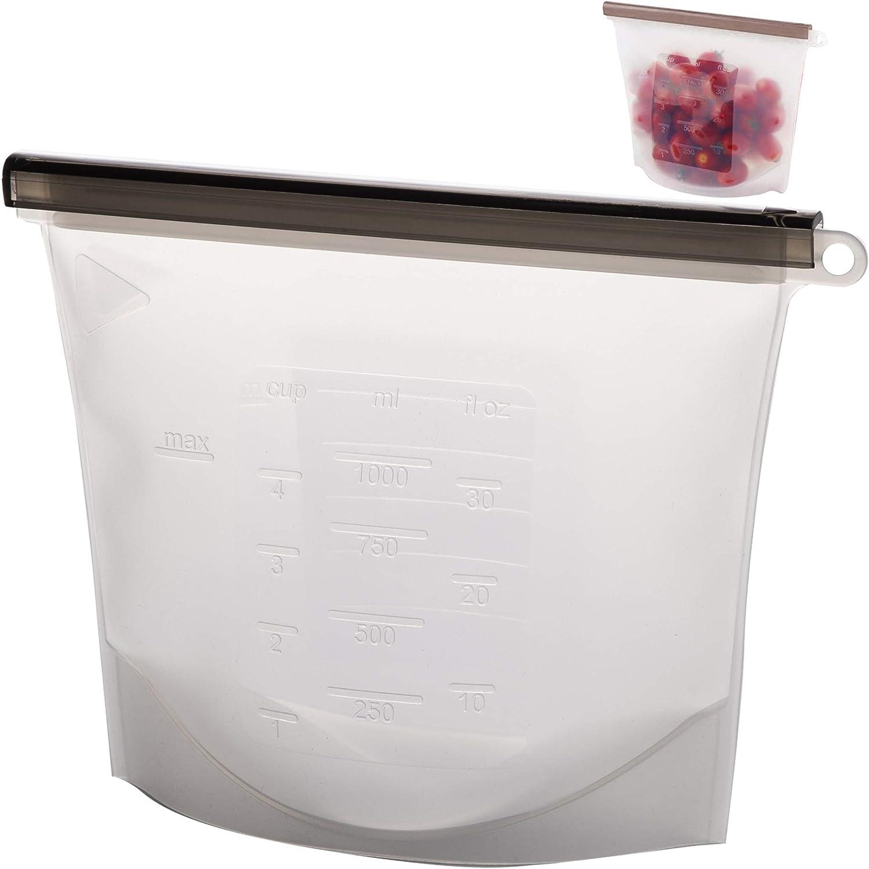 BINO Silicone Reusable Snack Bags, 33.8oz - Reusable Bags Reusable Sandwich Bags Reusable Produce Bags Reusable Freezer Bags Reusable Storage Bags Reusable Food Storage Bags Silicone Bags Reusable Bag