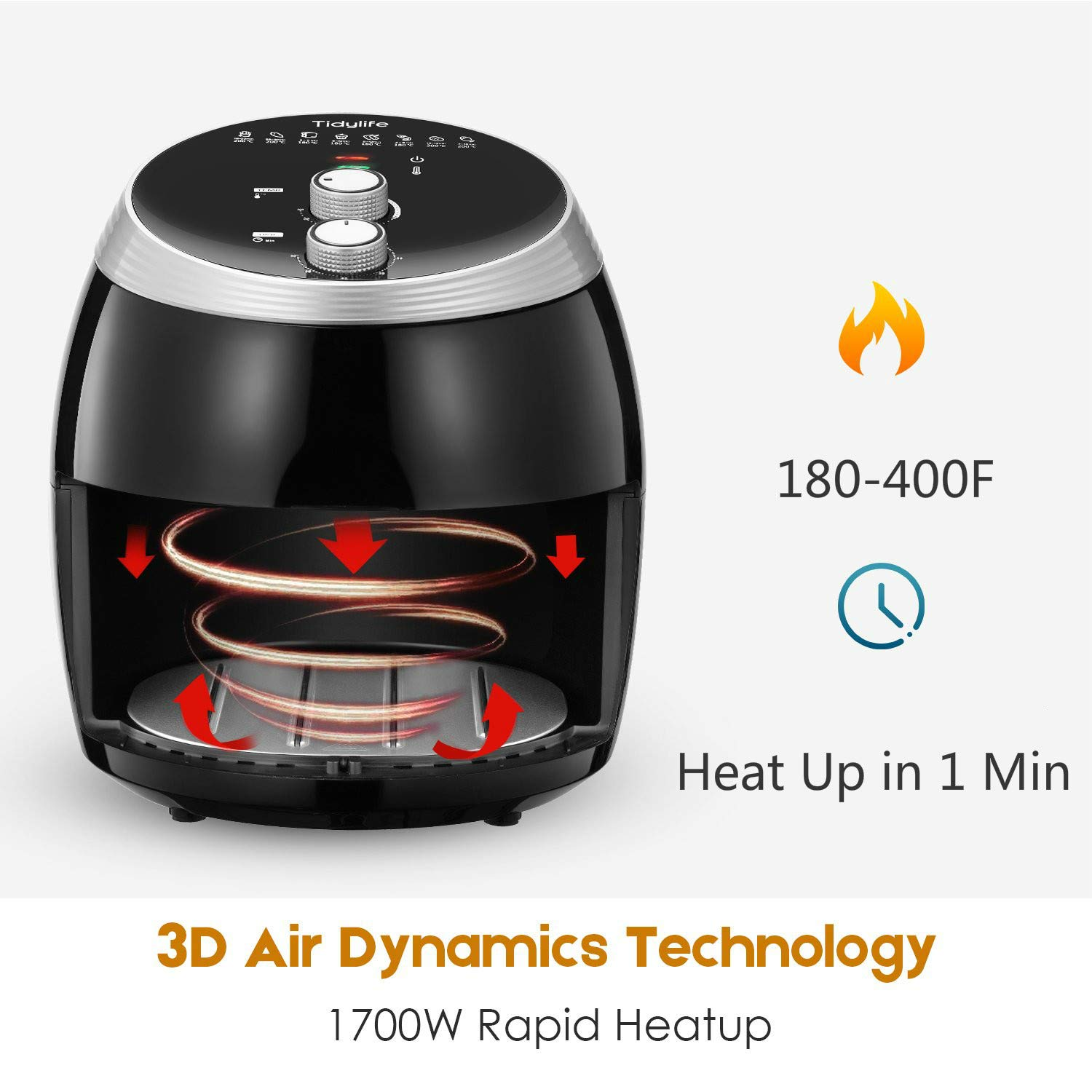 Air Fryer, Tidylife 6.3QT Large Air Fryer, 1700W Oilless XL Oven Cooker, Smart Time and Temperature Control, 7 Cooking Preset, 180-400℉Hot Air Fryer with Non-stick Basket, Auto Shut Off, 50+ Recipes by Tidylife (Image #3)