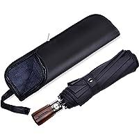 Paraguas de viaje Blueshadow, de secado rápido, resistente al viento, apertura y cierre automático, mango de madera para fácil transporte