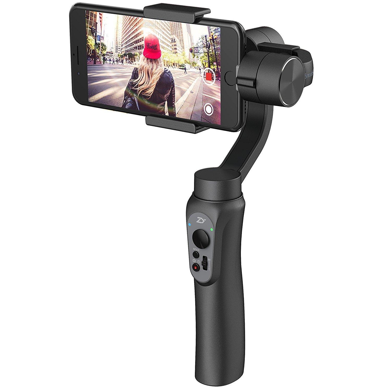 Zhiyun Smooth-Q 3-Axis - Stabilizzatore per Smartphone, iPhone 7 Plus, 6 Plus, Samsung Galaxy S7, S6, S5, Controllo Wireless, Modalità Verticale, Shooting Panorama (Black)