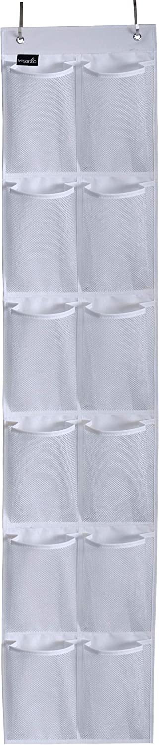 MISSLO Heavy Duty Over the door Storage with 12 Mesh Pockets (White)