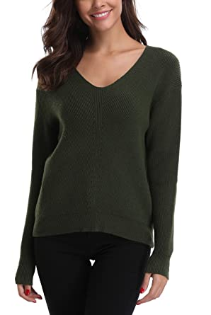 a610b47e04f MISS MOLY Women s V-Neck Long Sleeve Pullover Sweater S Size Army Green