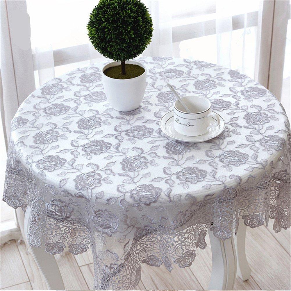 TaiXiuHome Moda Soluble bordado translúcido mantel de encaje con decorativo hermoso decorativo Jacquard Decoración cuadrado gris aproximadamente 130x130cm