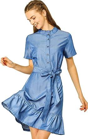 Allegra K Vestido Camisa A-Línea Medio Tapete con Volantes ...