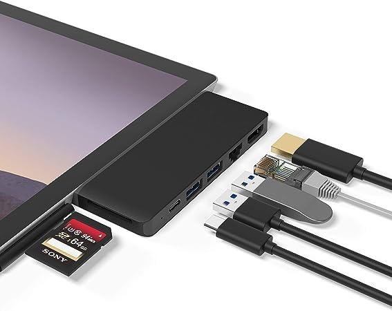LAN Ethernet de 100 M 2 USB 3.0 Surface Pro 7 con Adaptador HDMI 4K Adaptador convertidor Lector de Tarjetas de Puerto USB C para Microsoft Surface Pro 7 Surface Pro 7 Hub Docking Station