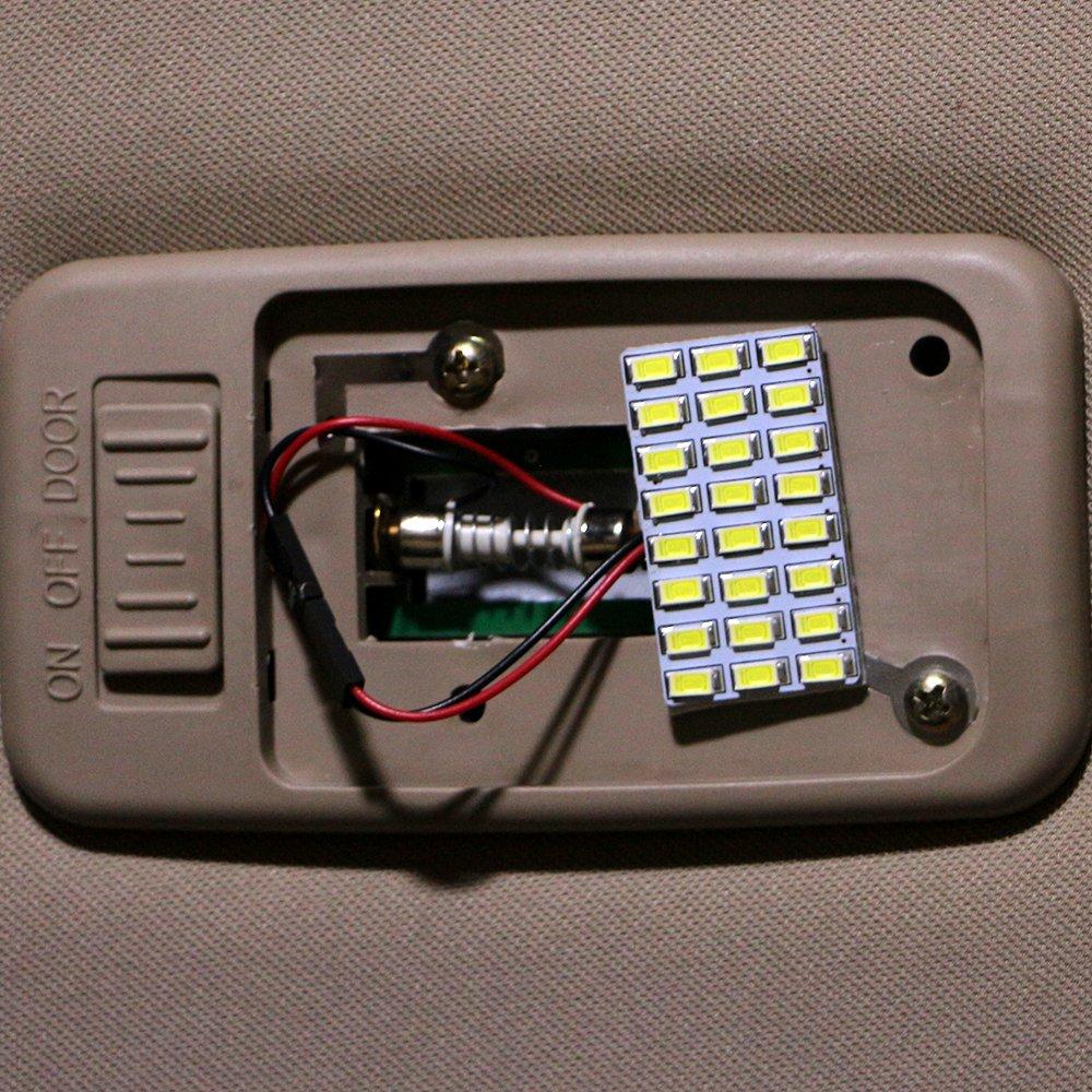 adaptateurs de feston BA9S EverBrightt 6-Pack Cool White 5730 12SMD Led panneau d/ôme ampoule voiture lecture carte lumi/ère DC 12V avec T10