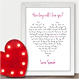 Personalised Valentines Gift A5 Ellie Goulding How Long Will I Love You