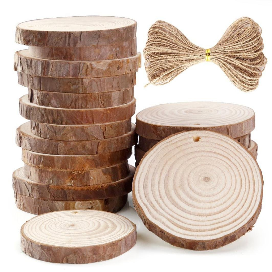 20 Pieces 2.36-2.75 inch Unfinished Predrilled Wood Slices Holes Round Log Discs With 33 Feet for Christmas Ornaments Home Hanging Decorations Painting (20PC) Wakeu
