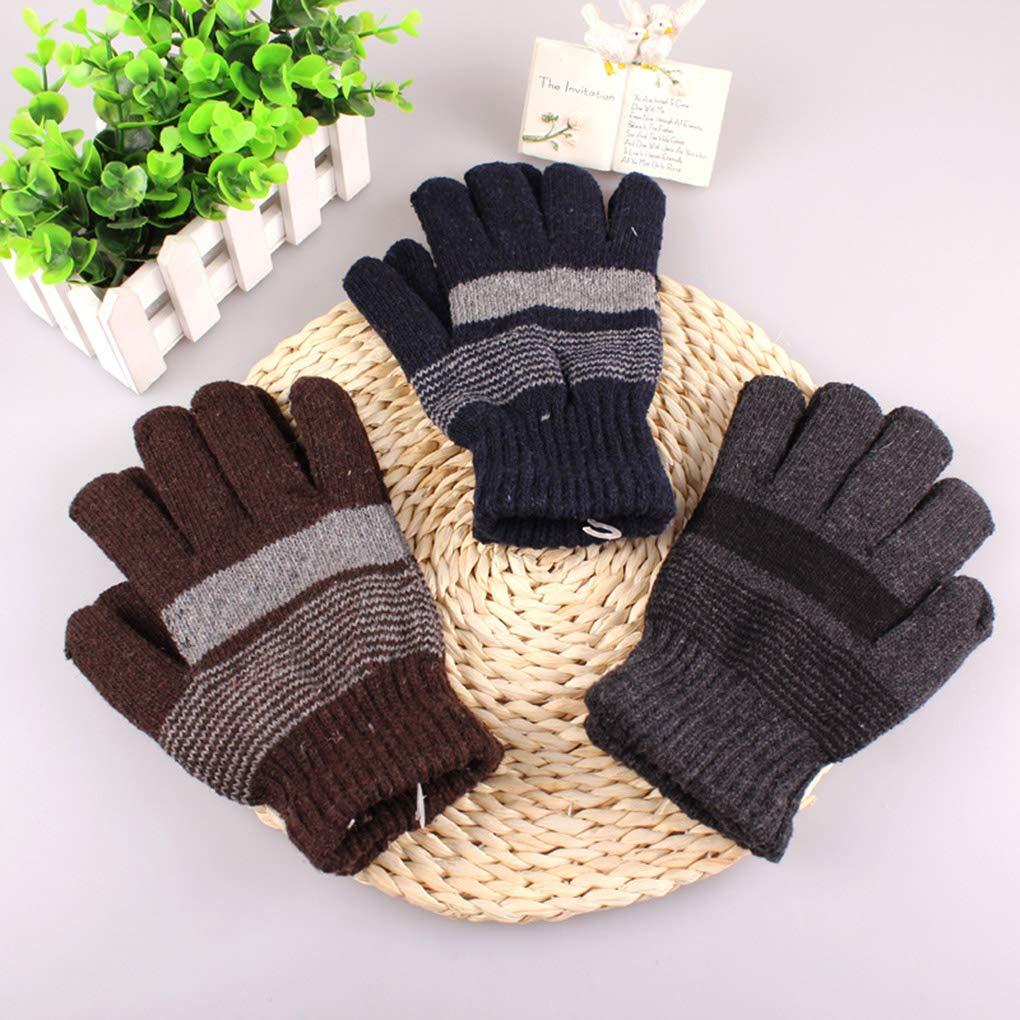 Color Random Men Winter Warmer Stripe Knitting Gloves Soft Skin Friendly Elastic Hand Cover