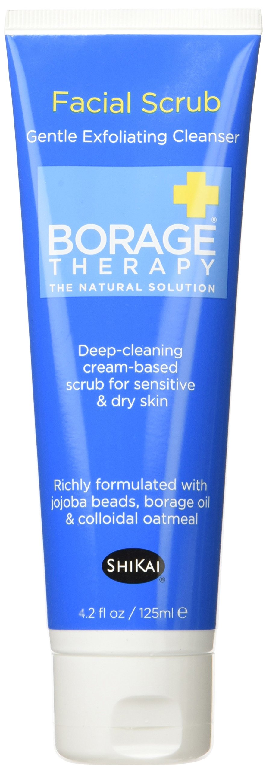 ShiKai Borage Therapy - Exfoliating Facial Scrub, Plant-Based Exfoliating Cleanser, Gently Clears Dirt, Oil & Dead Skin Cells, Borage Oil Repairs & Rebuilds Skin (Fragrance-Free, 4.2 Ounces)
