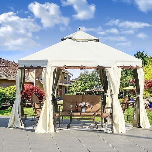Erommy 12FT Outdoor Canopy Gazebo Hexagonal Double Roof Patio Gazebo Steel Frame Pavilion
