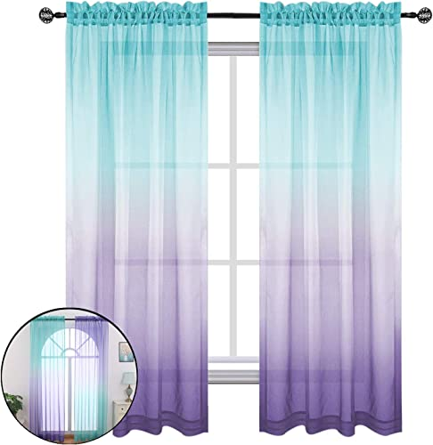 Ombre Linen Semi Sheer Window Curtains Drapes Elegant for Kids Bedroom, Girls Mermaid Gift Party Birthday Beautiful Decoration , 2 Panel Rod Pockets Green Purple, 52Wx96L