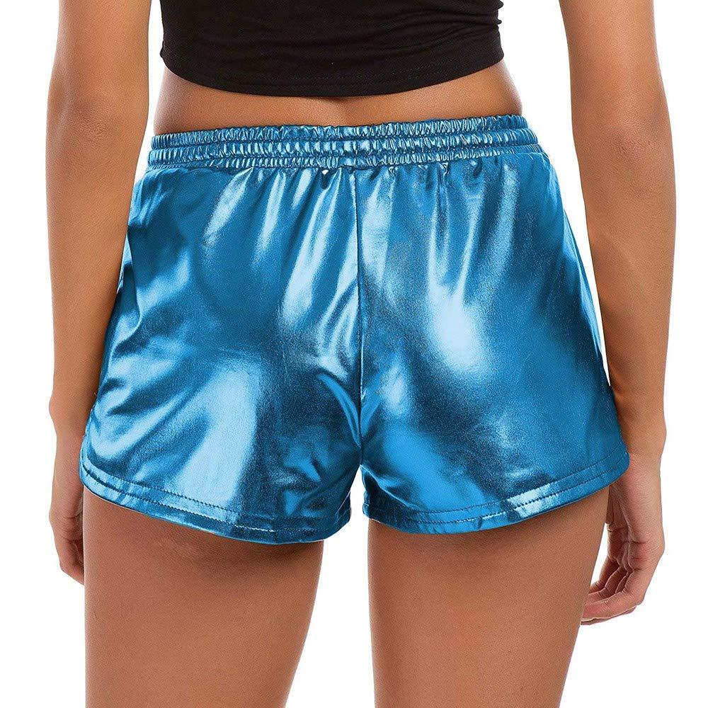 ABASSKY Fashion Women High Waist Yoga Sport Pants Shorts Shiny Metallic Pants Leggings