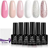 Beetles French Tips Gel Nail Polish Kit - 6 Pack Nude Pink Glitter White Gel Polish Set Soak Off LED Lamp Nail Gel…