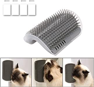 iMapo Cat Self Groomer, Cat Corner Groomer, Wall Corner Massage Comb, Pet Grooming Brush, Perfect Massager Tool for Cats with Long and Short Fur - Grey (1 Pack)