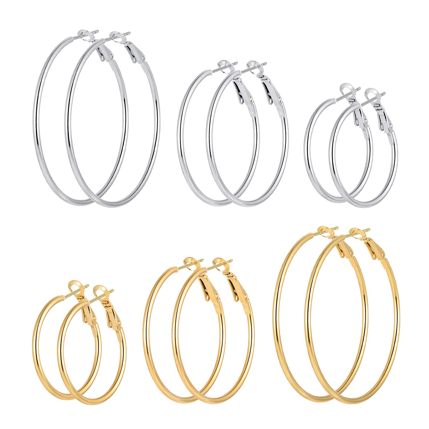Cuicanstar 6 Pairs Stainless Steel Gold Silver Plated Hoop Earrings for Women Girls (30.40.50mm) by Cuicanstar
