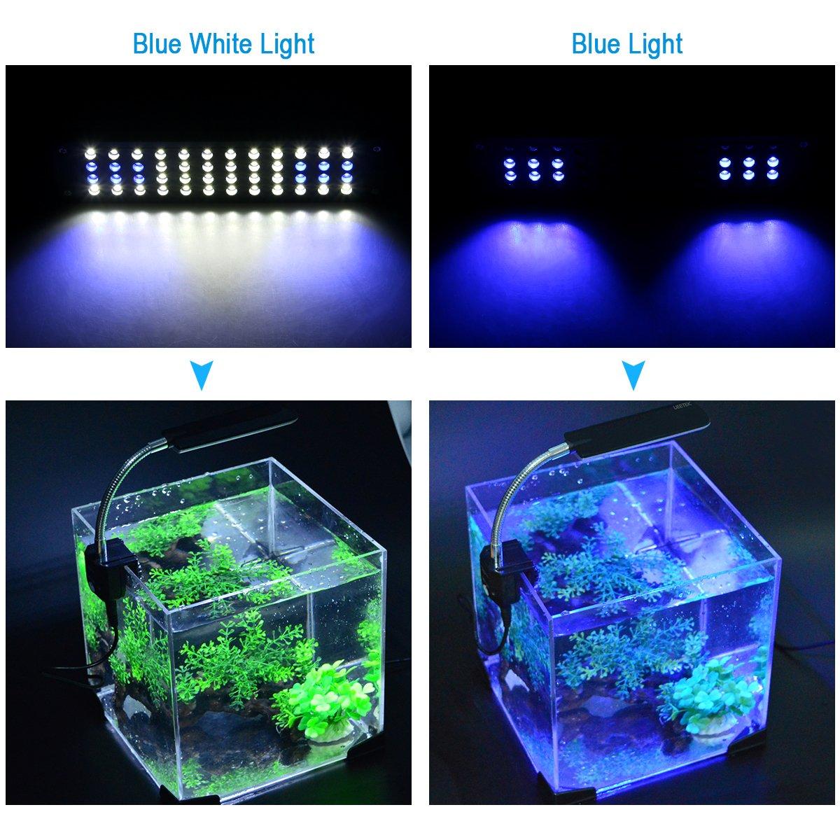 UEETEK Alta potencia 48-LED 3-modo conmutación pecera acuario LED lámpara con el adaptador de enchufe de la UE: Amazon.es: Electrónica