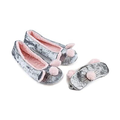 02b33574883d Totes Toasties 9150A Ladies Eye Mask   Slippers Gift Set Grey Small