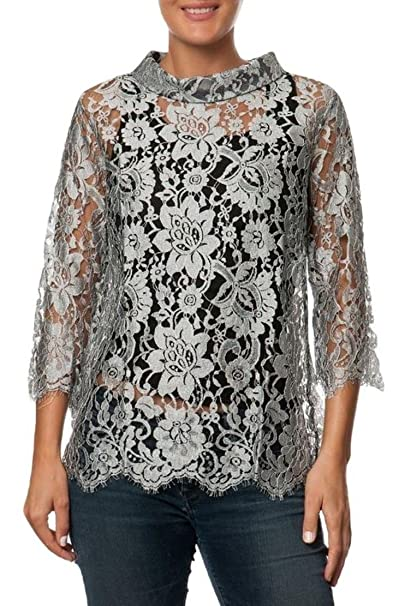 official photos a053a 112ab OSCALITO Blusa Donna in Pizzo di Calais Argento: Amazon.it ...