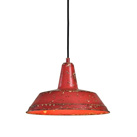 Distressed Industrial Red Round Pendant Light | Kitchen Rustic Urban  Cottage Hanging Dome Fixture