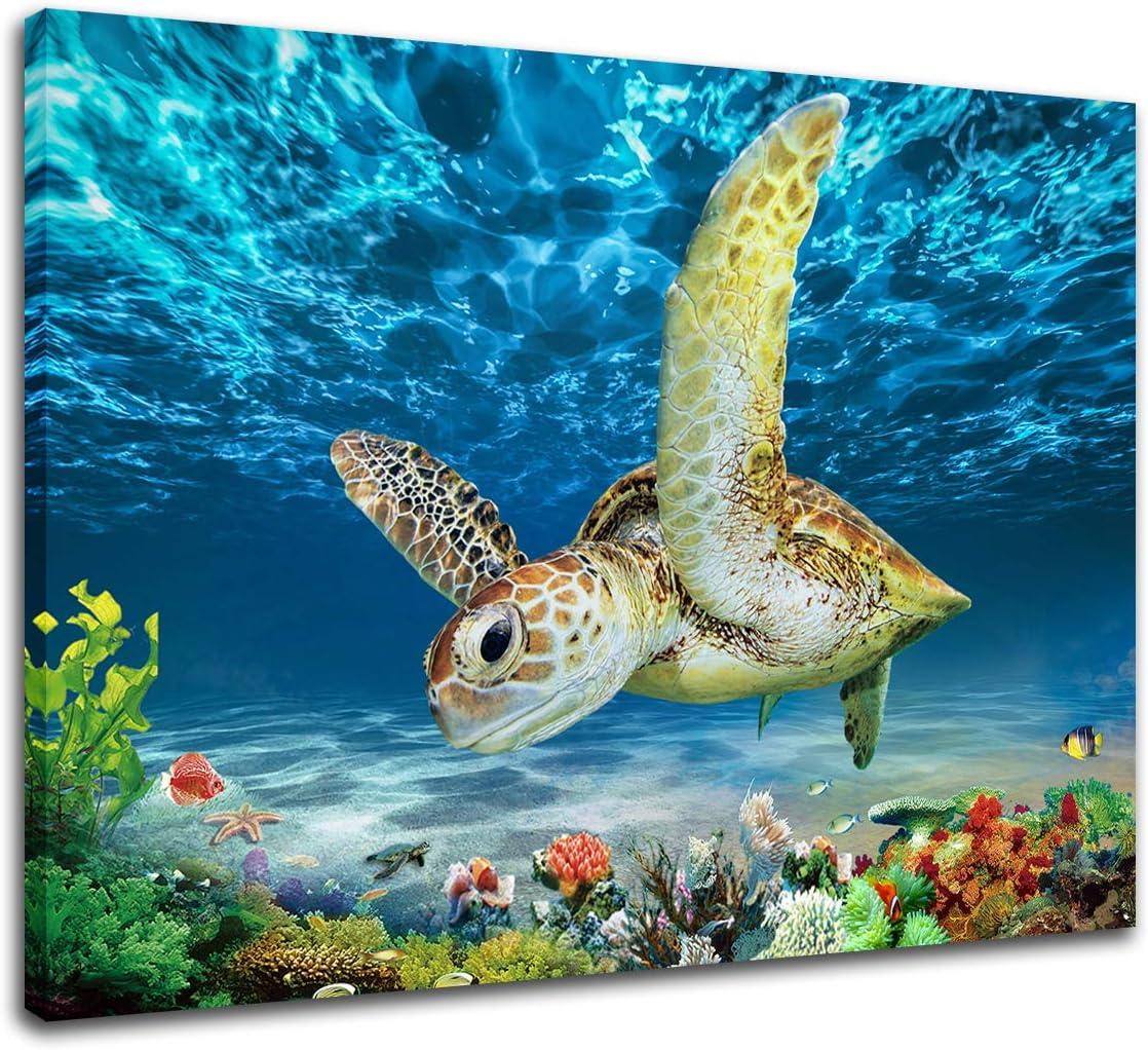 Ocean Turtle print Sea Life Corals print Turtle Canvas Poster Turtle Canvas Sea Turtle Print Sea Life Canvas Corals Canvas Poster