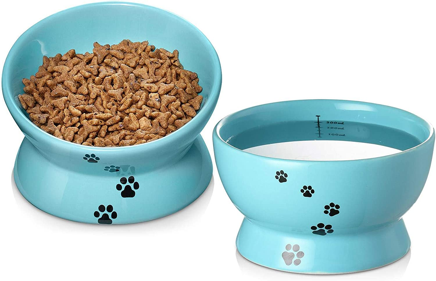 Y YHY Raised Cat Food and Water Bowl Set, Tilted Elevated Cat Food Bowls No Spill, Ceramic Cat Food Feeder Bowl Collection, Pet Bowl for Flat-Faced Cats and Small Dogs, Set of 2, Blue