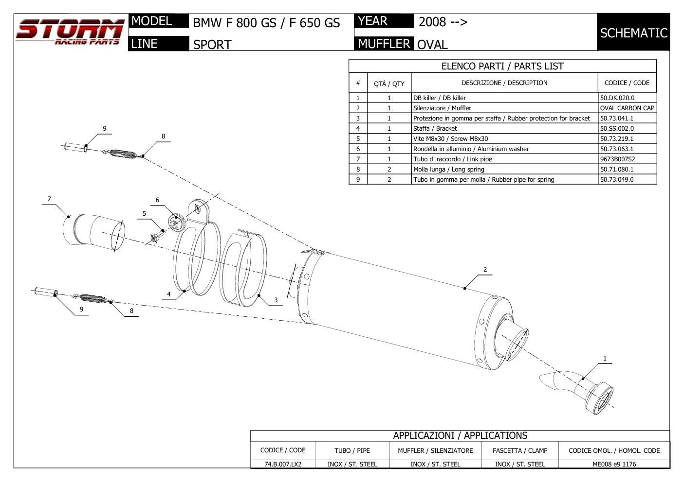 74.B.007.LX2B Scarico Storm by Mivv Oval Nero acciaio inox per F 800 Gs 2011 11