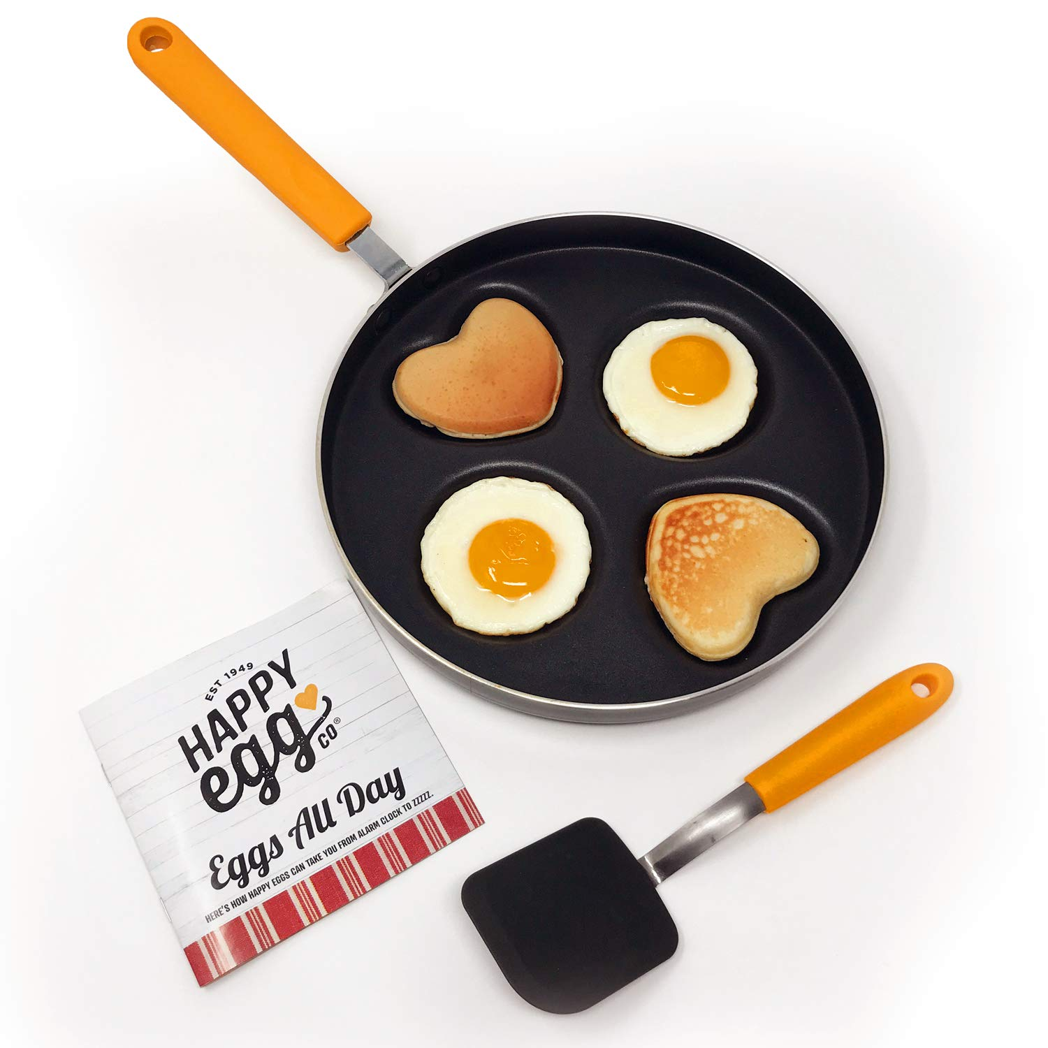Heart & Circle 4 Cup Nonstick Pan – Happy Egg Pan by Choosy Chef, Spatula & Recipe Book Included