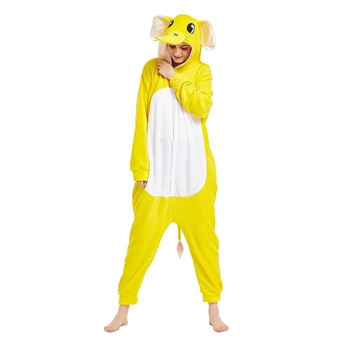 Hstyle Unisex Mamelucos Kigurumi Pijamas para Adultos Anime Disfraces De Halloween Cosplay Vestido De Sleepsuit Amarillo