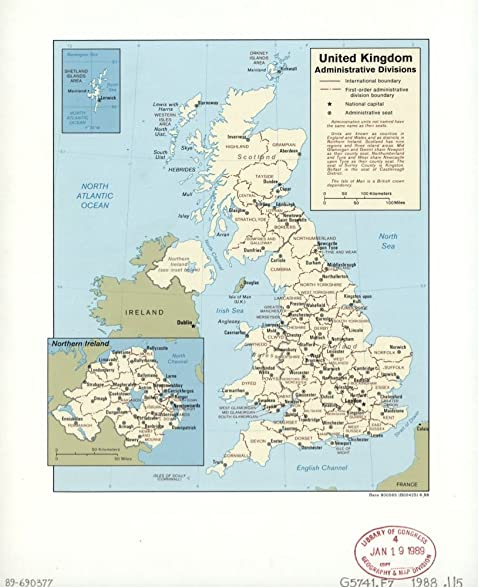 Amazoncom Vintage 1988 Map of United Kingdom administrative