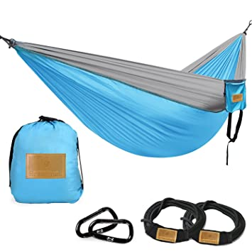Greenmall Double Portable Camping Hammock, Soft Breathable Parachute Nylon  Lightweight Hammock For Hiking Travel Backpacking