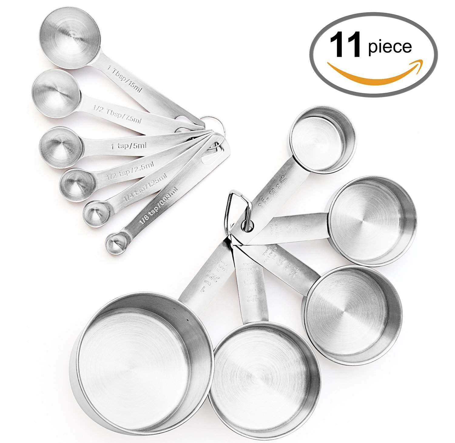maison maison Measuring Cups and Measuring Spoons Set - 11 Piece Stainless Steel with 2 D Rings and Precise American & Metric Measurements MM-0001