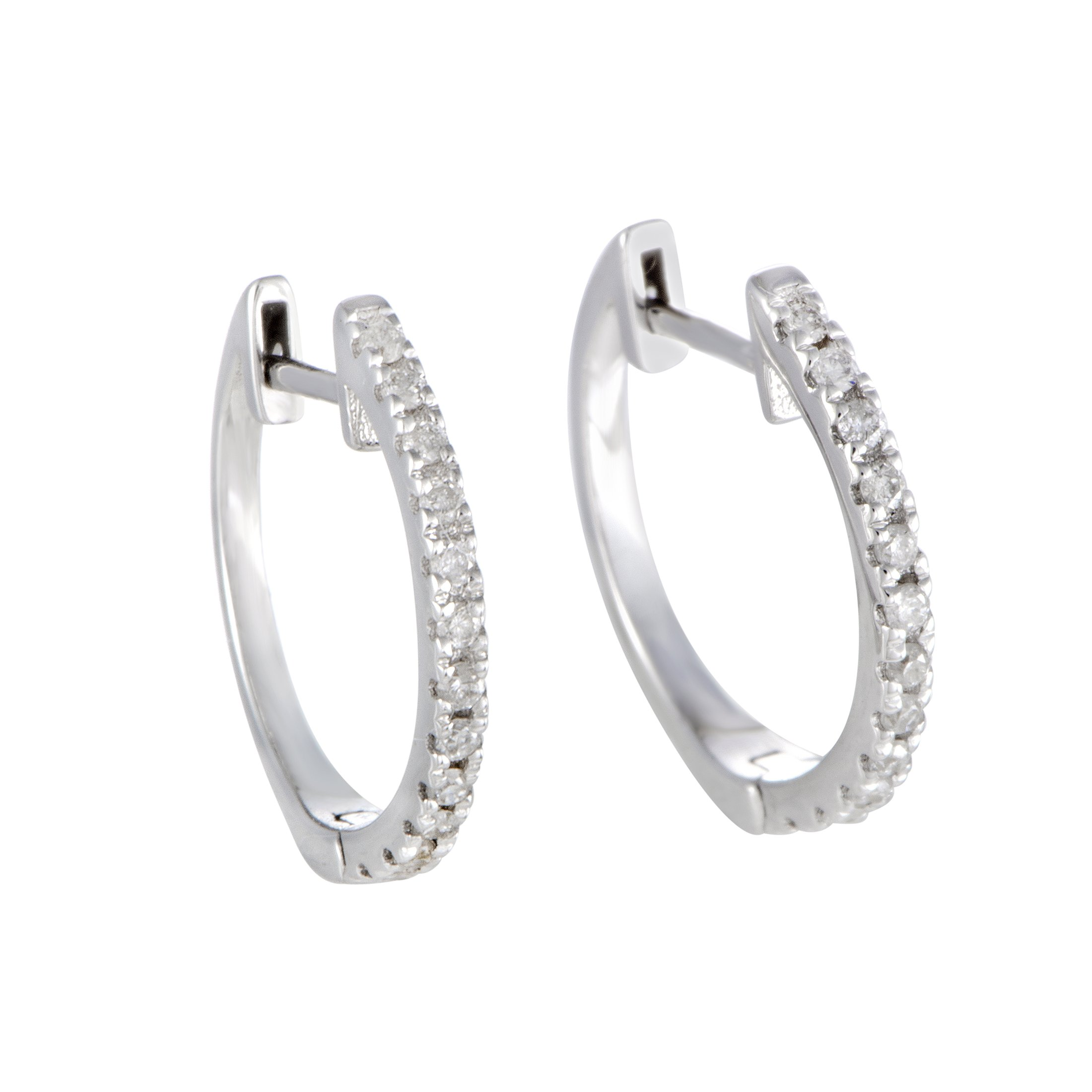 Stunning 0.5'' Diamond Hoop Earrings in 14K White Gold; 0.20 Carats of White Diamonds (G Color, SI1-SI2 Clarity)