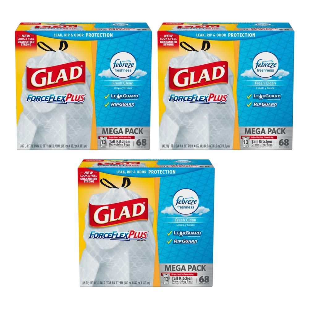 Glad ForceFlex トールキッチン 臭気シールド ドローストリング ゴミ袋 ホワイト 13ガロン 68枚入り (68枚入り) B07GCT3R4J