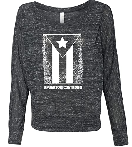 2ff13d0db5708 Amazon.com: Puerto Rico Strong Flag, women's long sleeve shirt, off ...