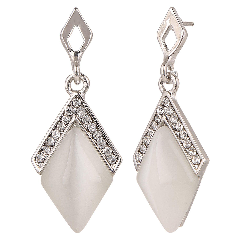 Efulgenz Silver Tone CZ Crystal Dangle Drop Earrings for Girls and Women Wedding Bride Bridesmaids