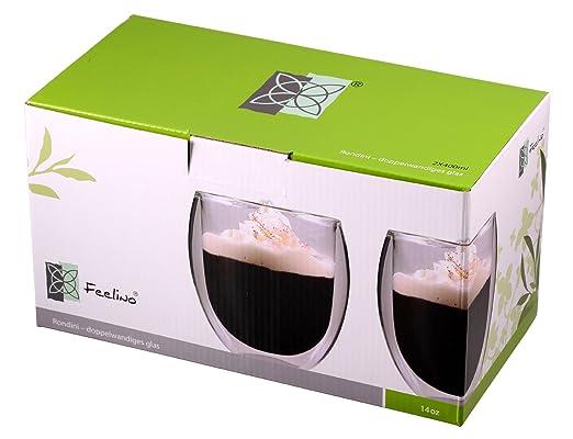2 opinioni per Feelino Rondini isolante in vetro a doppia parete per tè/caffè XL con effetto