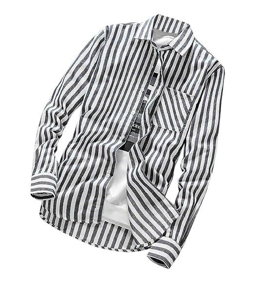 Nanquan Men Classic Long Sleeve Striped Plaid Casual Button Down Shirts Tops