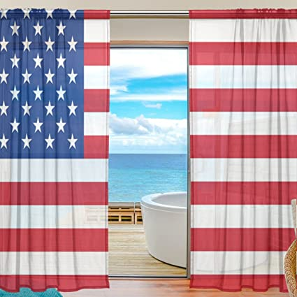 SAVSV Window Sheer Curtains Panels Window Treatment Set Voile Drapes Tulle Curtains American Flag Pattern 55""
