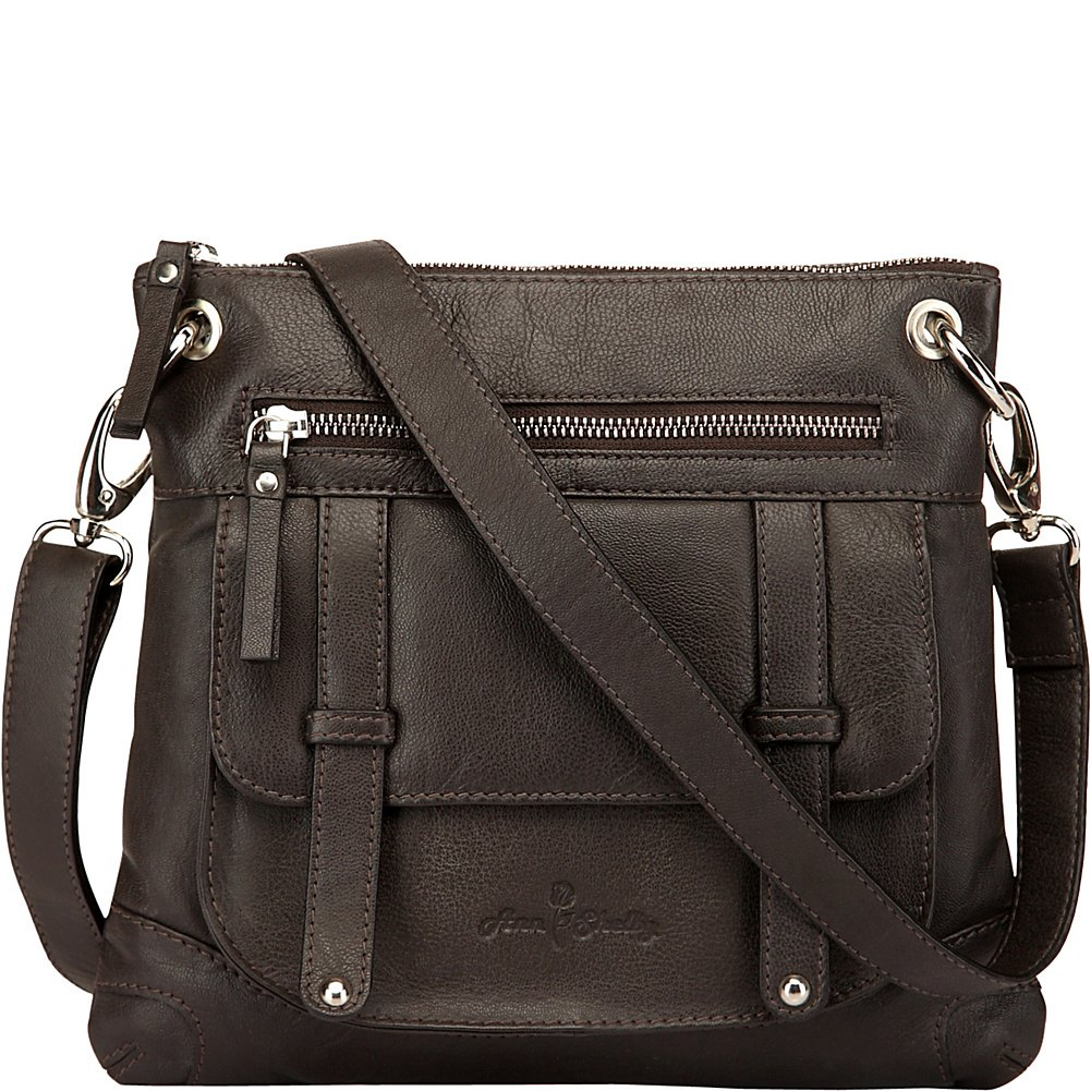 Ann Shelby Felice Leather Crossbody Bag (Dark Brown)