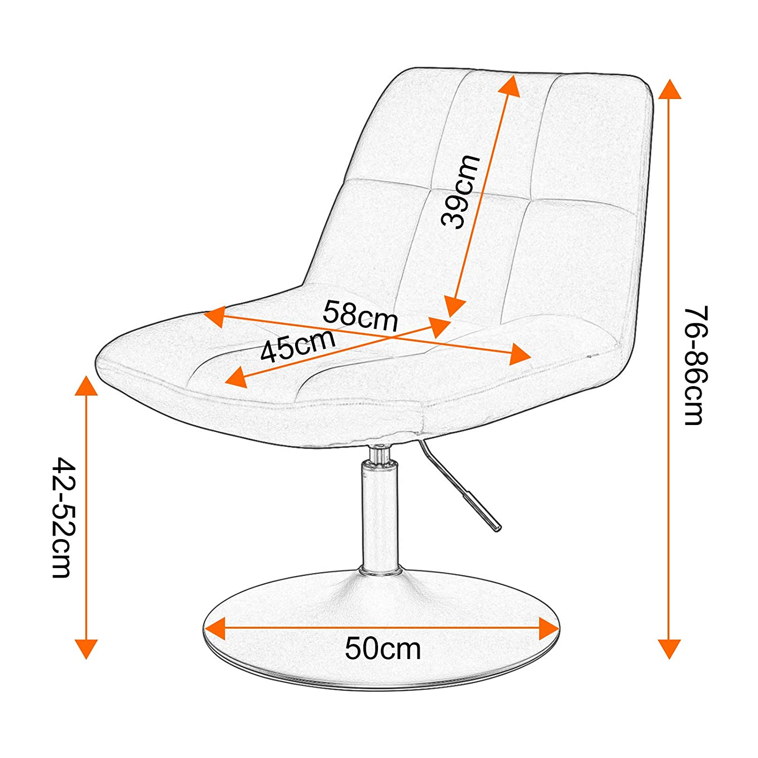 Steel Base Adjustable Swivel Gas Lift WOLTU Bar Stool Brown Bar Chair Breakfast Dining Stool for Kitchen Dressing Stool Counter Stool with Back Velvet Exterior