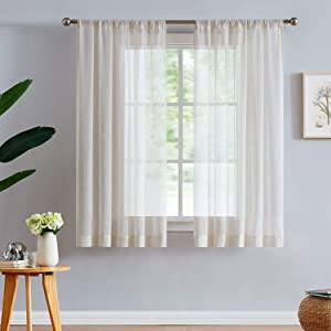 "Fmfunctex Linen-Blend Sheer Curtains for Living Room 63-inch Long Vintage Flax Window Drapes for Farmhouse Bedroom Rod Pocket 52"" Wide Set of 2 Natural"