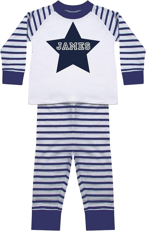 Pijama personalizado para niños y niñas a rayas con estrella ...