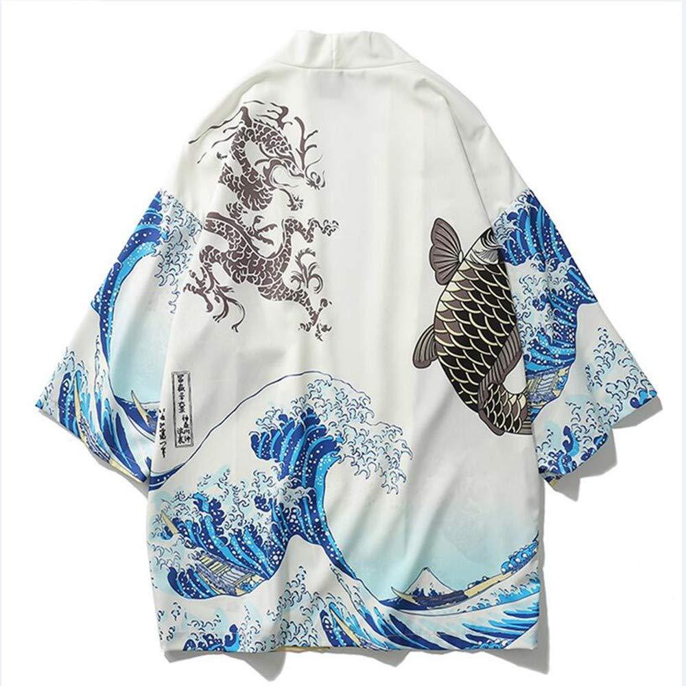 LXXHN Chaqueta De Hombre Kimono Cardigan Men Wave and Carp Print ...