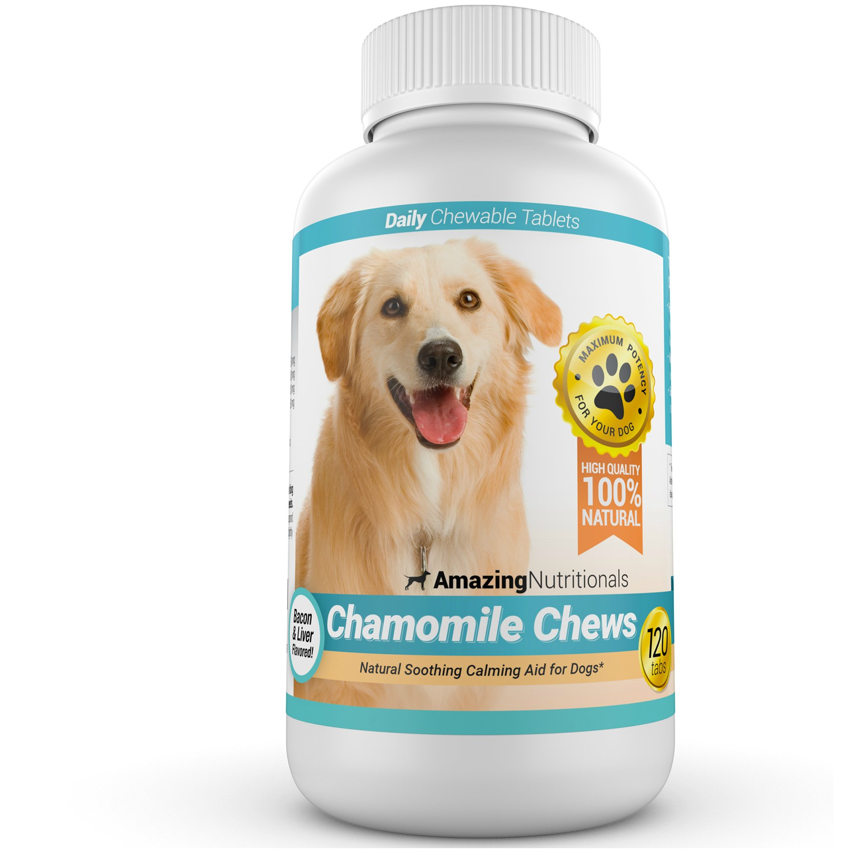 Amazing Chamomile Dog Calming Aid - Anxiety Relief for Dogs, Helps Calm Pet and Eliminate Stress, 120 Chews