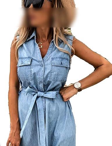 Vestidos de moda Safari vestido 2020 azul Denim camisa ...