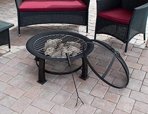 Hiland F FT-235 Wood Burning Fire Pit w/Cooking Grate and Domed Mesh