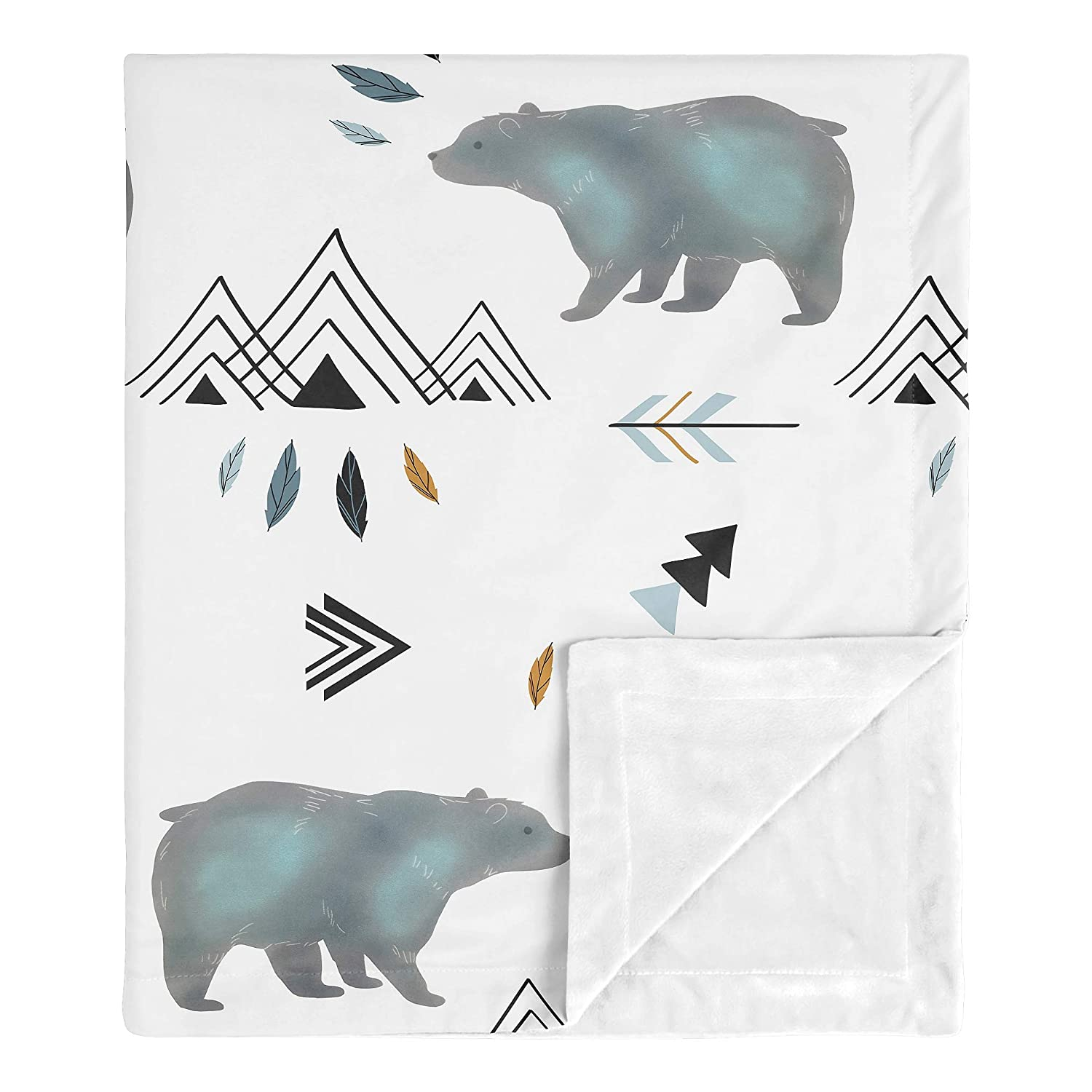Sweet Jojo Designs Bear Mountain Watercolor Baby Boy Receiving Security Swaddle Blanket for Newborn or Toddler Nursery Car Seat Stroller Soft Minky - Slate Blue, Black and White