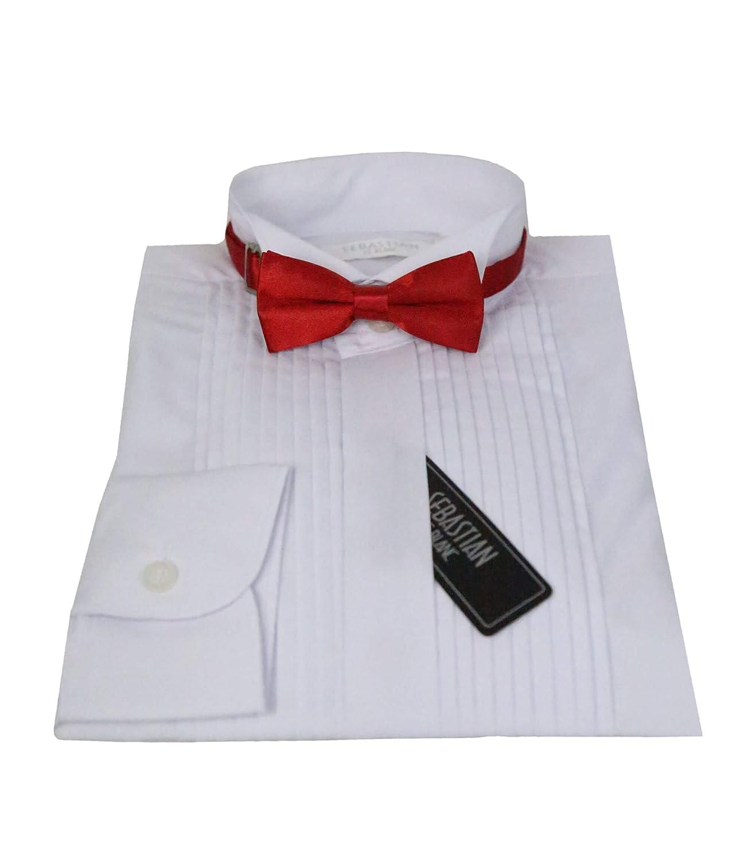 Boys Sebastian Le Blanc Formal Pleated Kids White Wing Collar Wedding Tuxedo Pintuck Shirt 1 to 16 Years