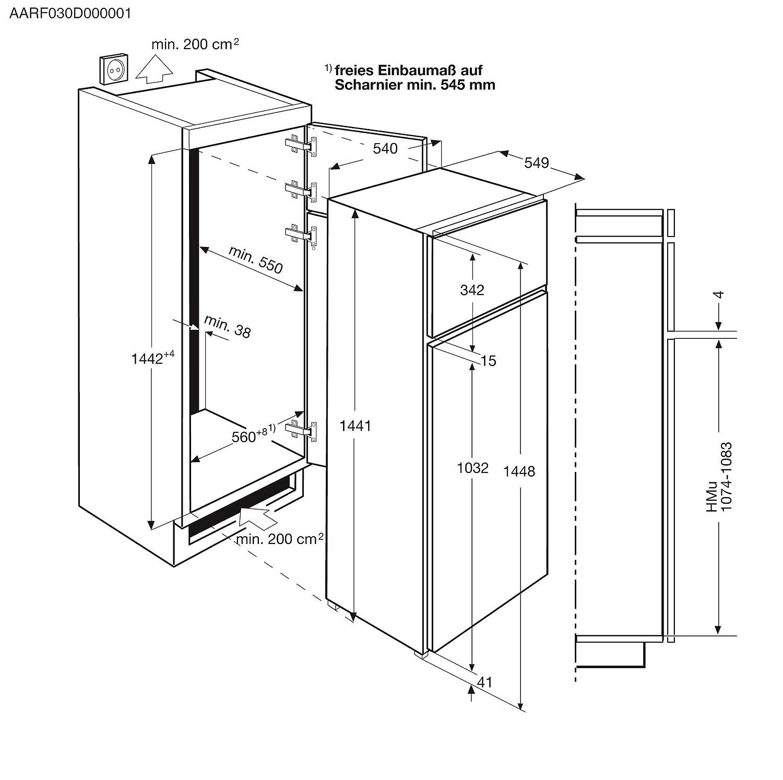 AEG SDB AS Einbau Kühl Gefrier Kombination mit Gefrierteil